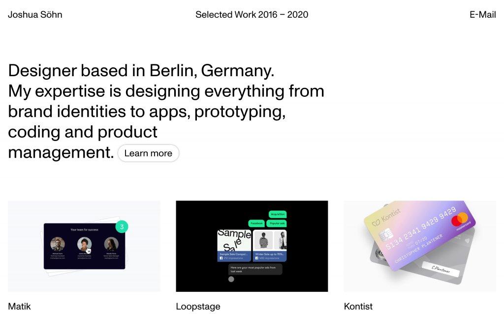 Screenshot of the website Joshua Söhn
