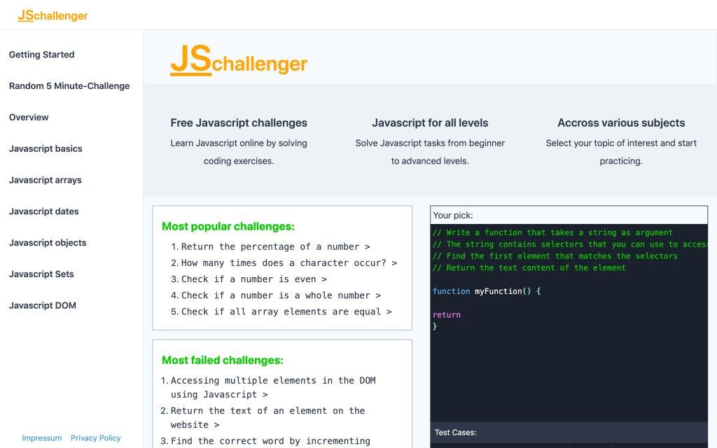 Screenshot of the website JSchallenger
