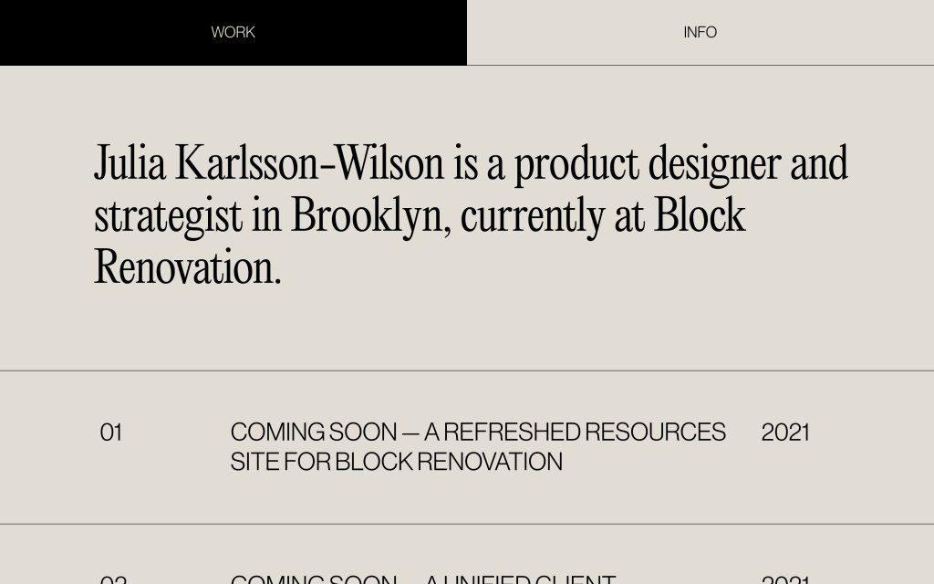 Screenshot of the website Julia Karlsson-Wilson