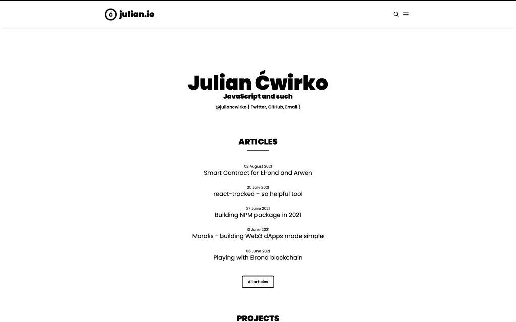 Screenshot of the website Julian Ćwirko