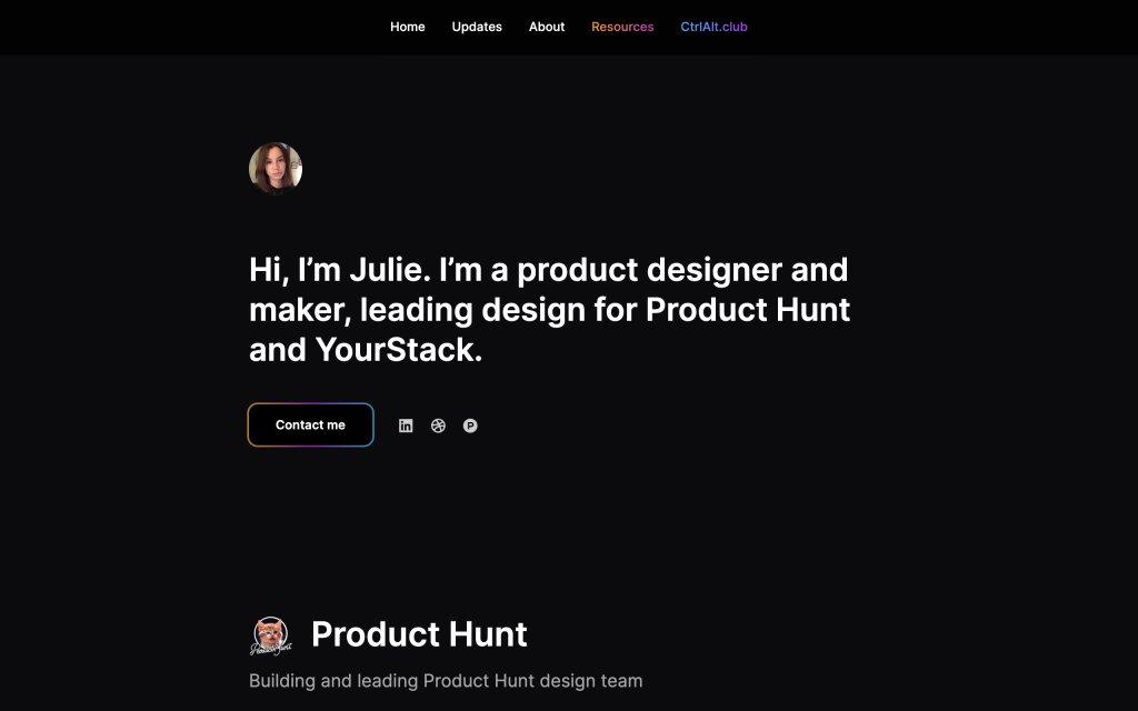 Screenshot of the website Julie Chabin
