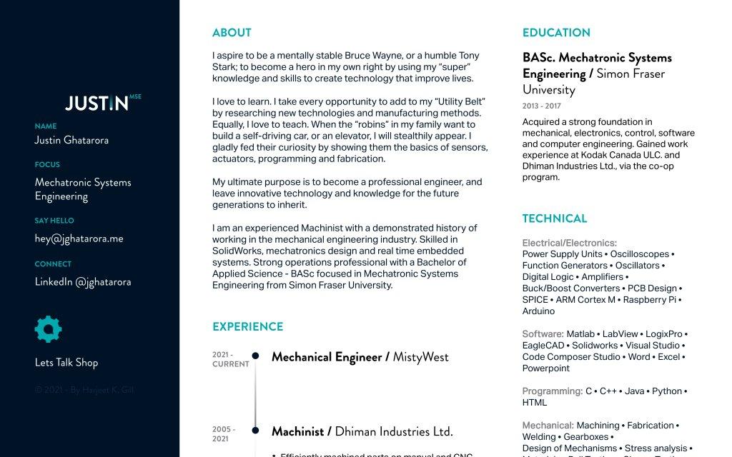 Screenshot of the website Justin Ghatarora