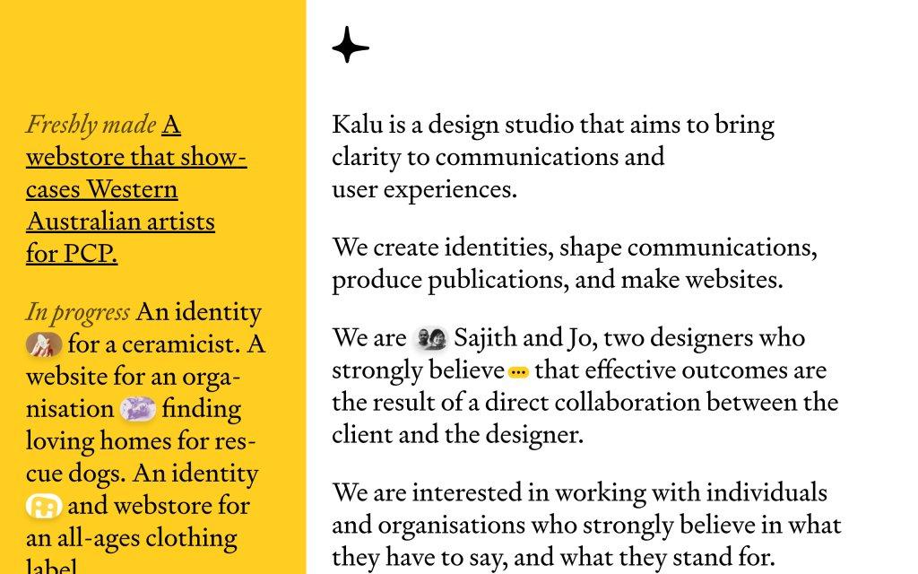 Screenshot of the website Kalu Design Studio