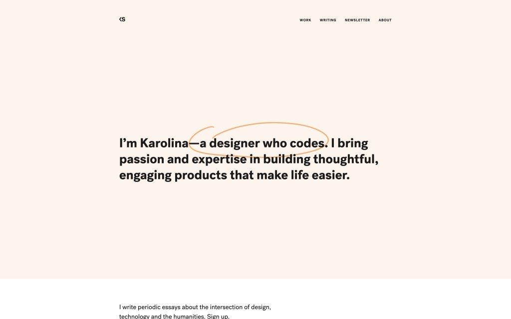 Screenshot of the website Karolina Szczur