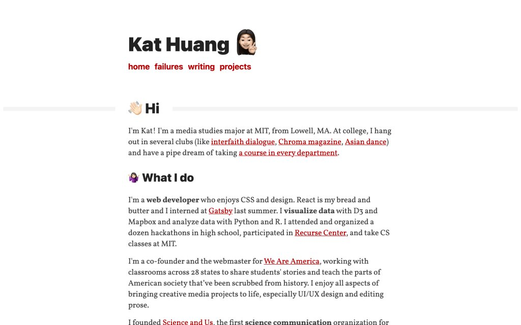 Screenshot of the website Kat Huang