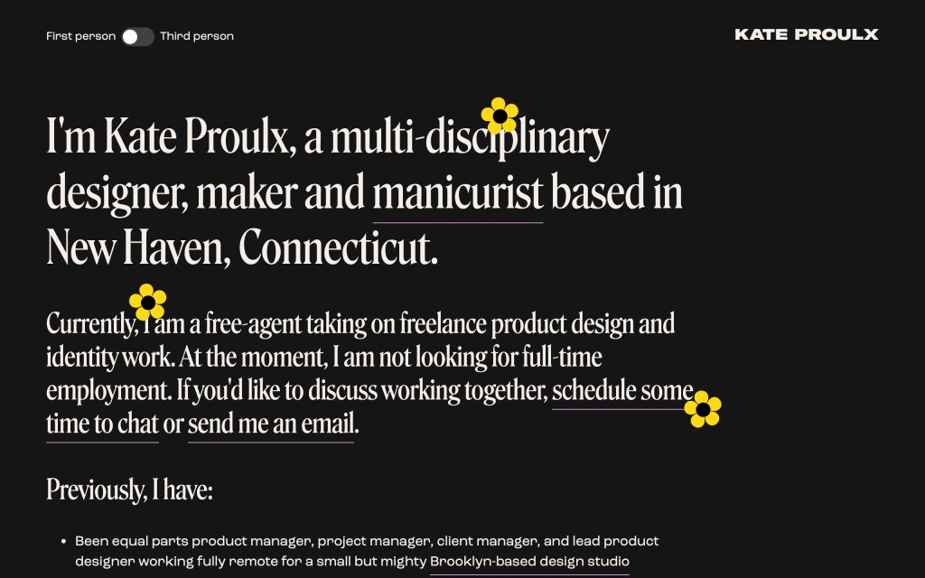 Screenshot of the website Kate Proulx
