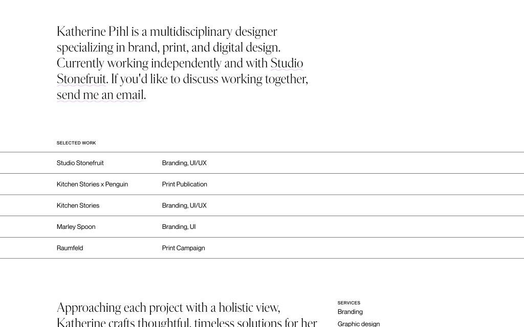 Screenshot of the website Katherine Pihl