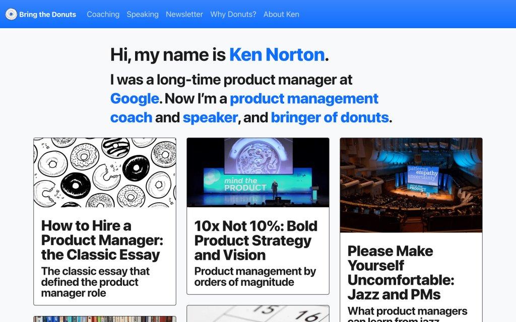 Screenshot of the website Ken Norton