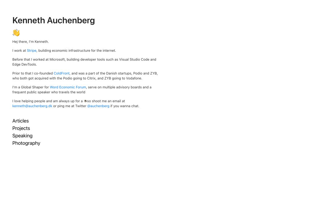 Screenshot of the website Kenneth Auchenberg