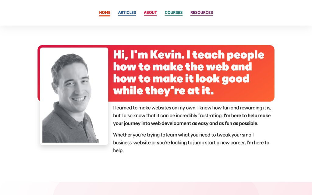 Screenshot of the website Kevin Powell