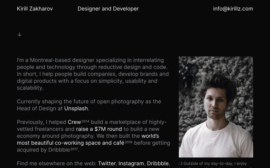 Screenshot of the website Kirill Zakharov