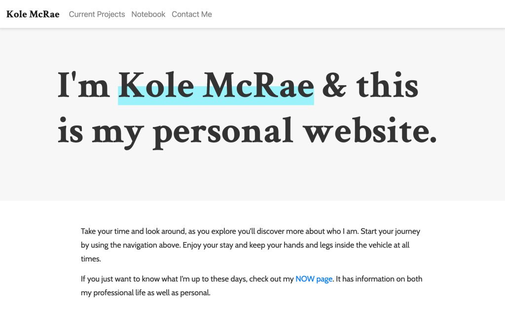 Screenshot of the website Kole McRae