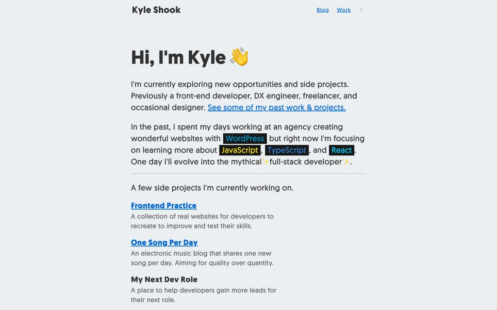 Screenshot of the website Kyle Shook