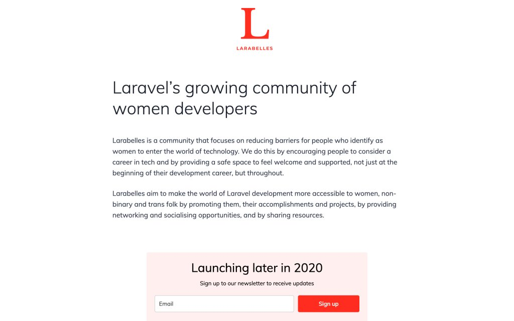 Screenshot of the website Larabelles