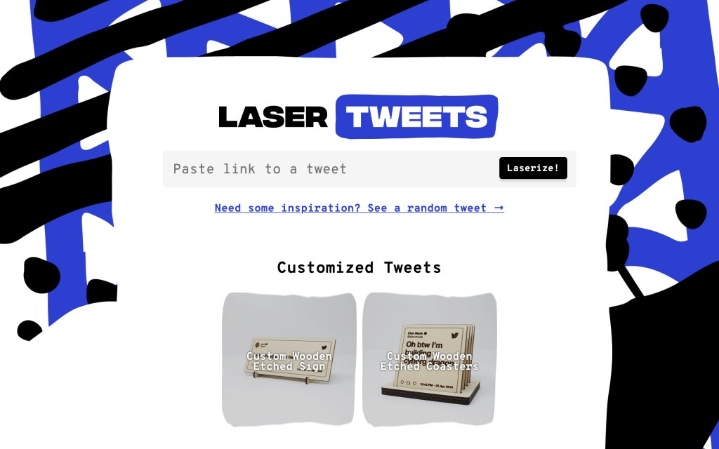 Screenshot of the website Laser Tweets