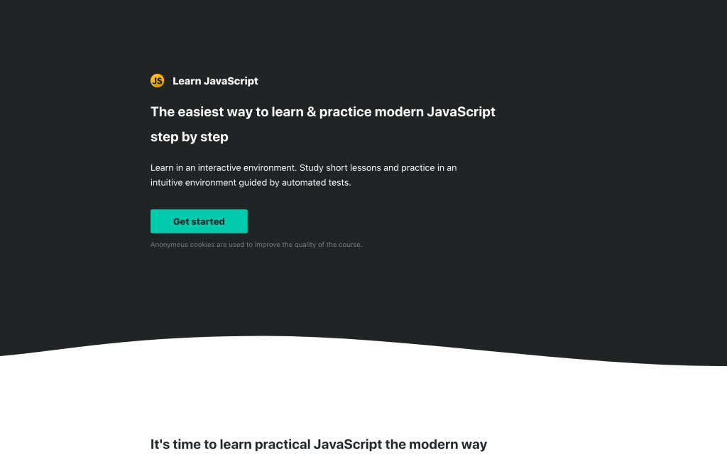 Screenshot of the website Learn JavaScript