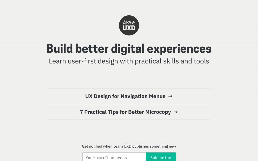 Screenshot of the website Learn UXD