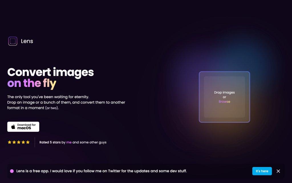 Screenshot of the website Lens