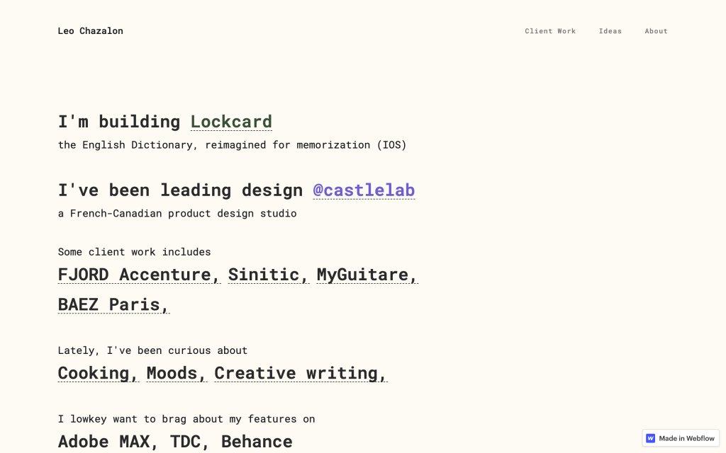 Screenshot of the website Leo Chazalon
