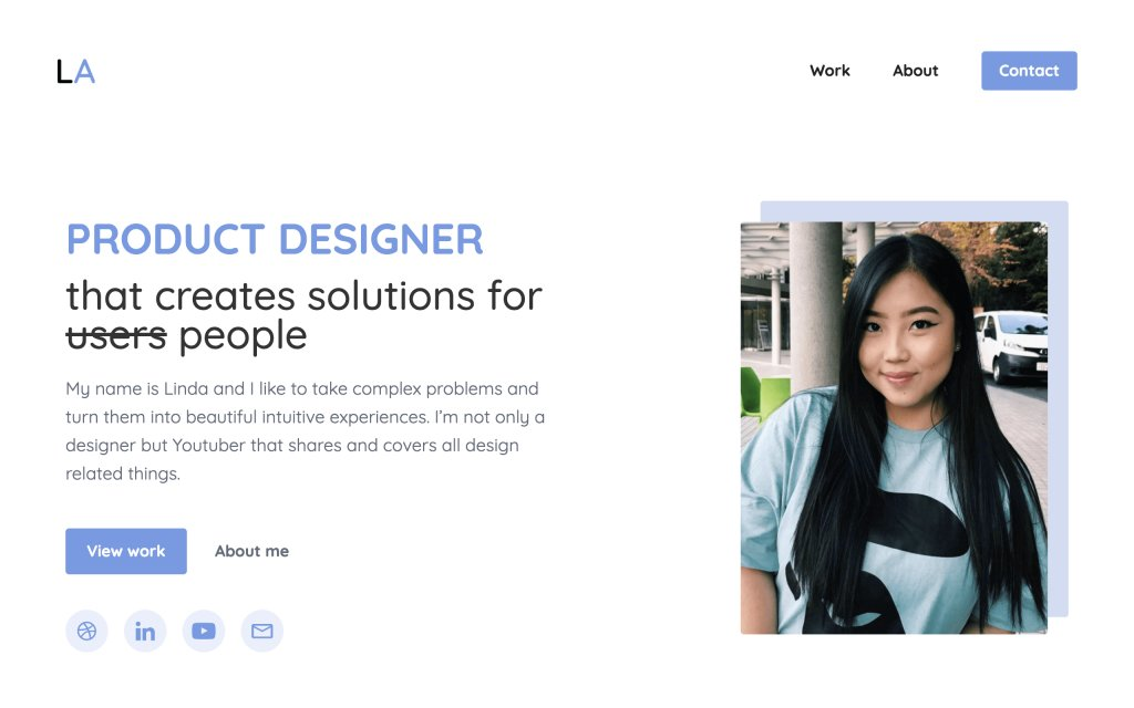 Screenshot of the website Linda Ahn