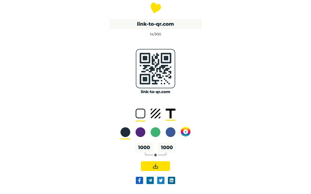 Screenshot of the website Link to QR