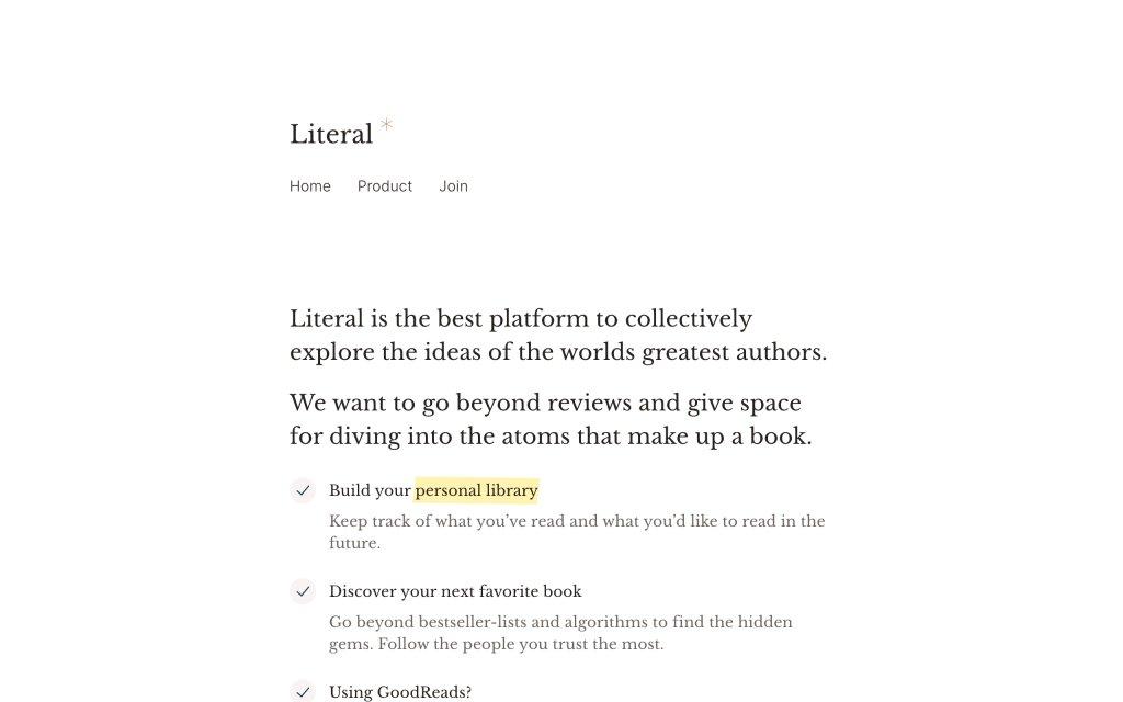 Screenshot of the website Literal