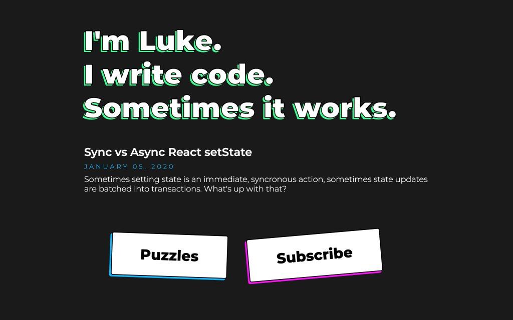 Screenshot of the website Luke Millar