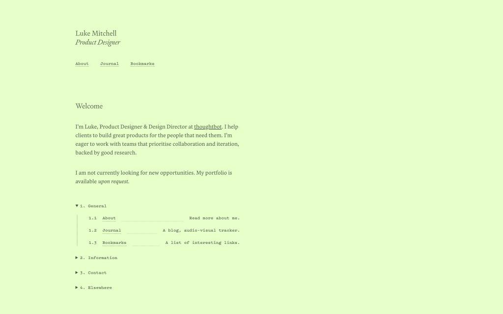 Screenshot of the website Luke Mitchell