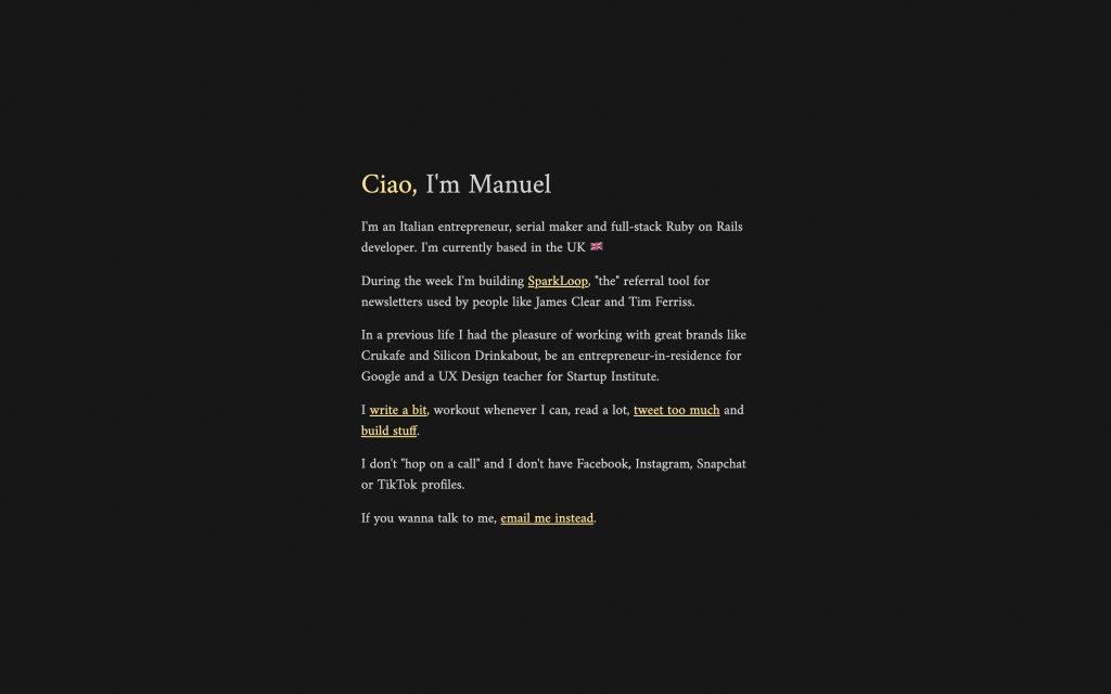Screenshot of the website Manuel Frigerio