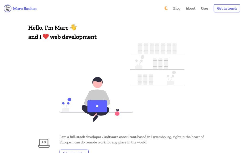 Screenshot of the website Marc Backes