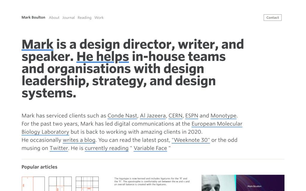 Screenshot of the website Mark Boulton