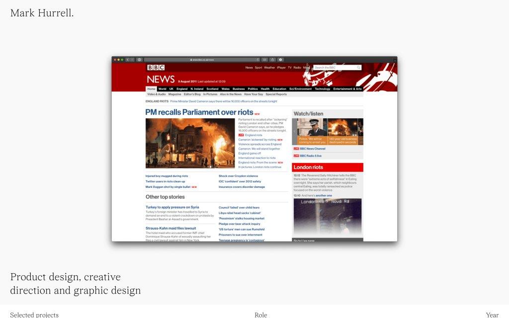 Screenshot of the website Mark Hurrell