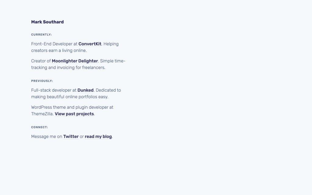 Screenshot of the website Mark Southard