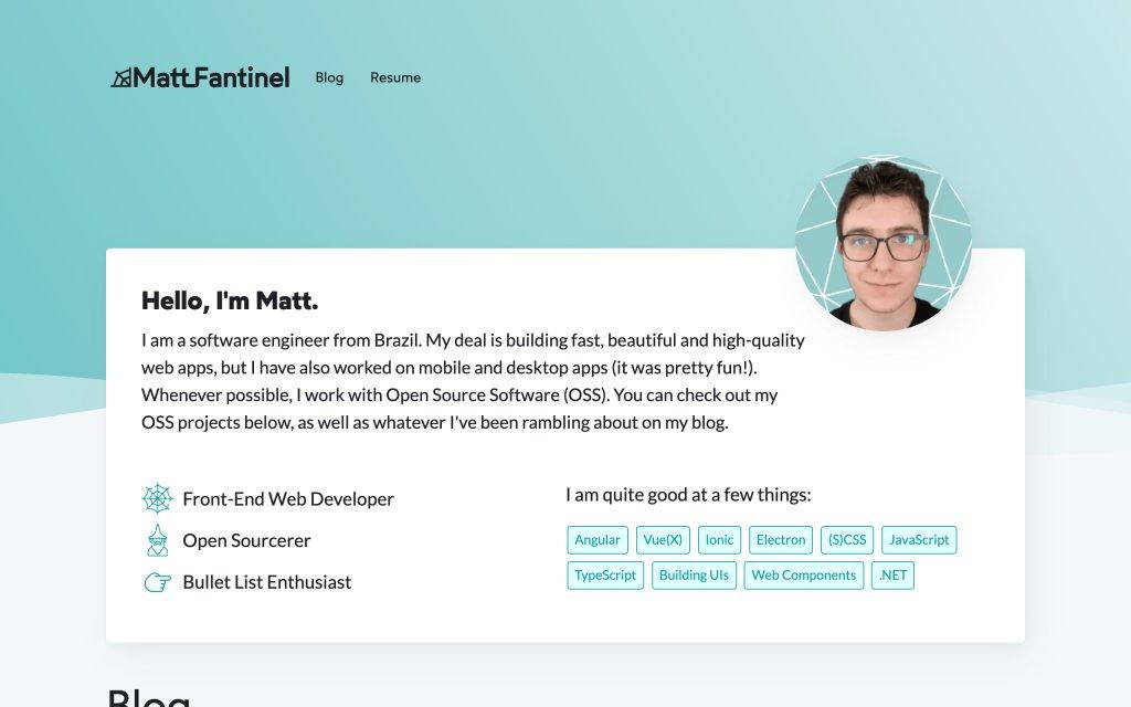 Screenshot of the website Matt Fantinel