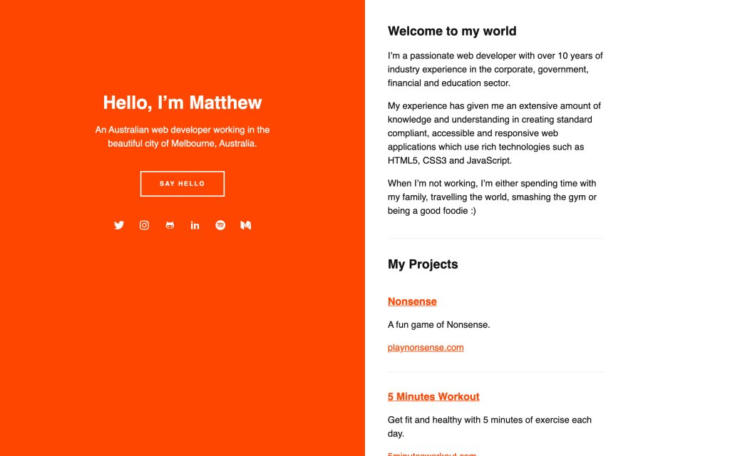 Screenshot of the website Matthew Hartman