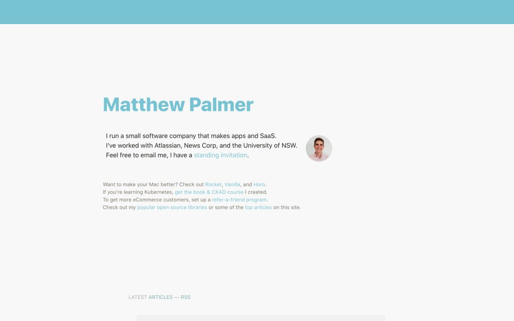 Screenshot of the website Matthew Palmer
