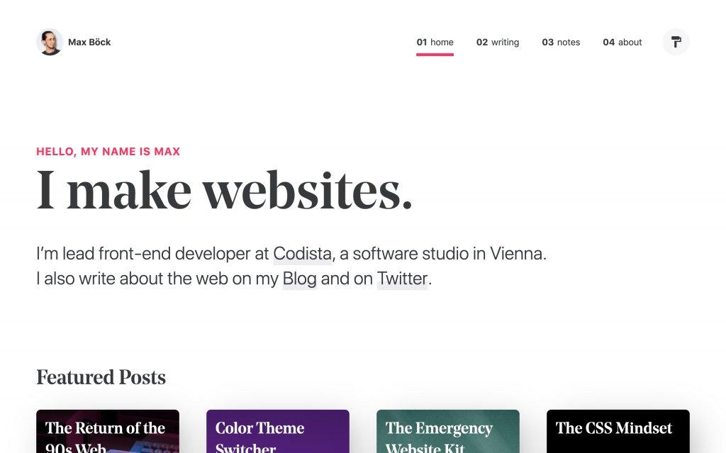 Screenshot of the website Max Böck