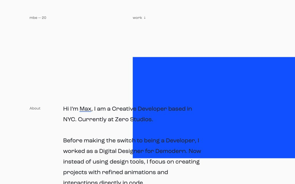 Screenshot of the website Maximilian Berndt