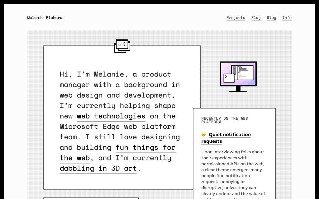 Screenshot of the website Melanie Richards