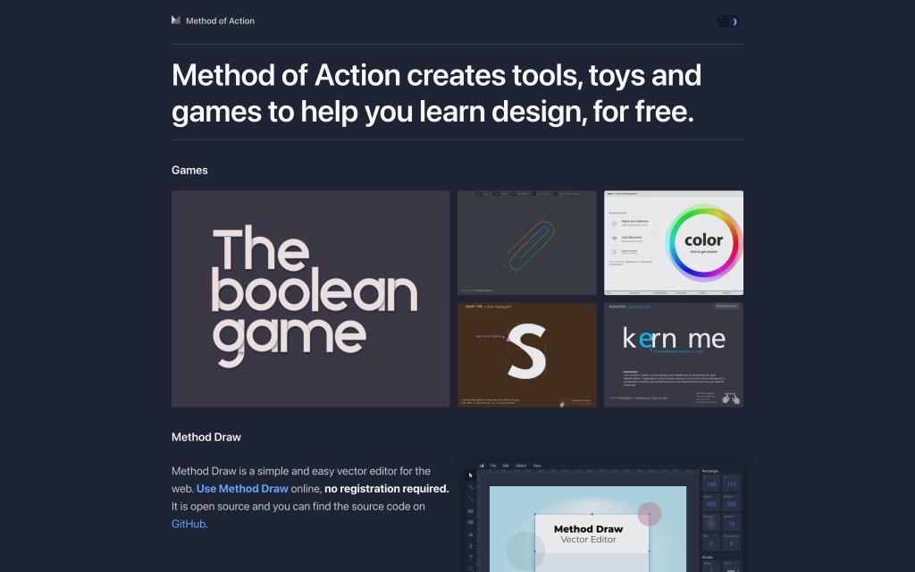 Screenshot of the website Method of Action