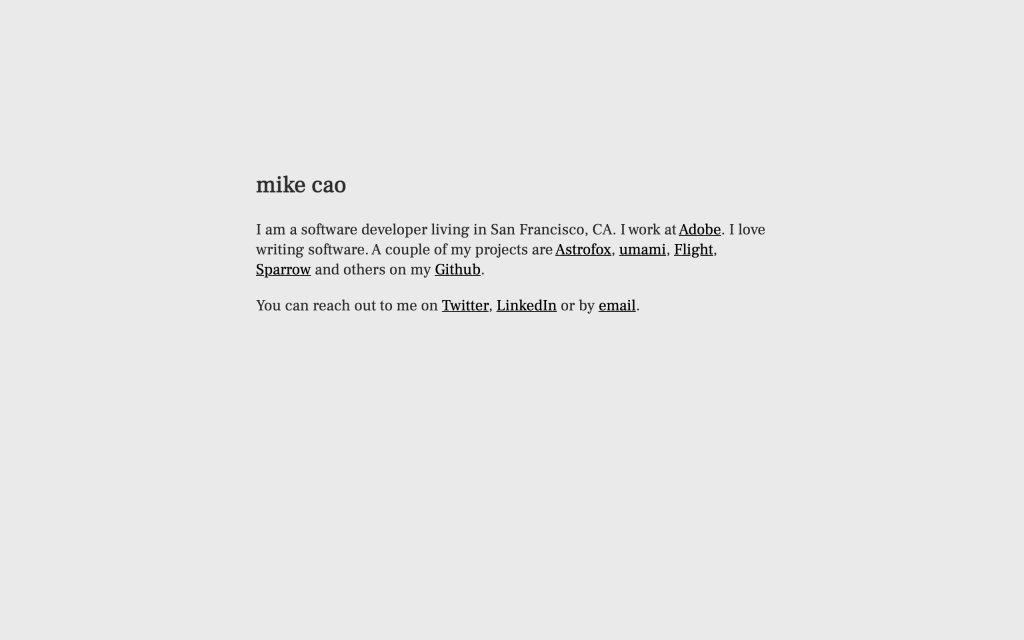 Screenshot of the website Mike Cao