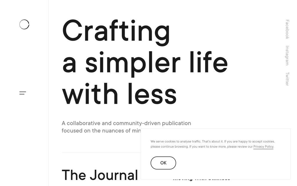Screenshot of the website Minimalism Life