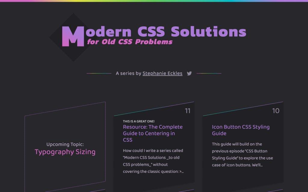 Screenshot of the website Modern CSS Solutions
