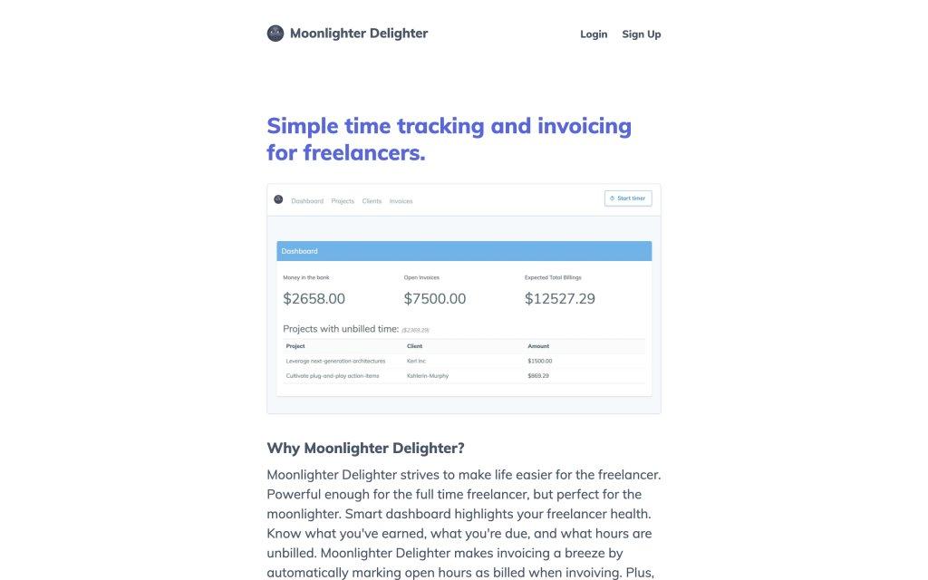 Screenshot of the website Moonlighter Delighter