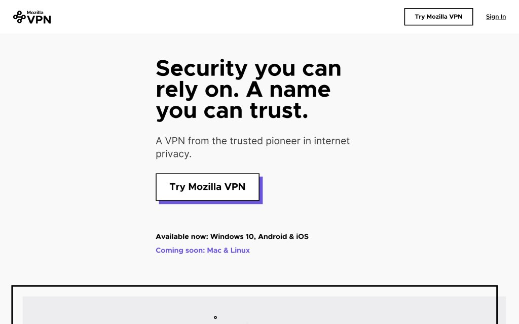 Screenshot of the website Mozilla VPN