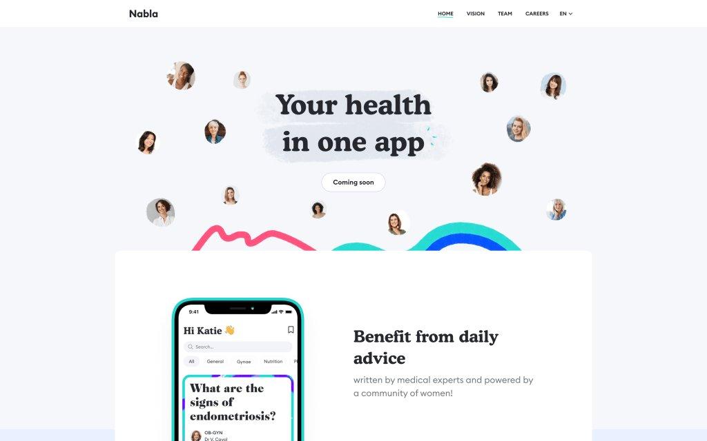 Screenshot of the website Nabla
