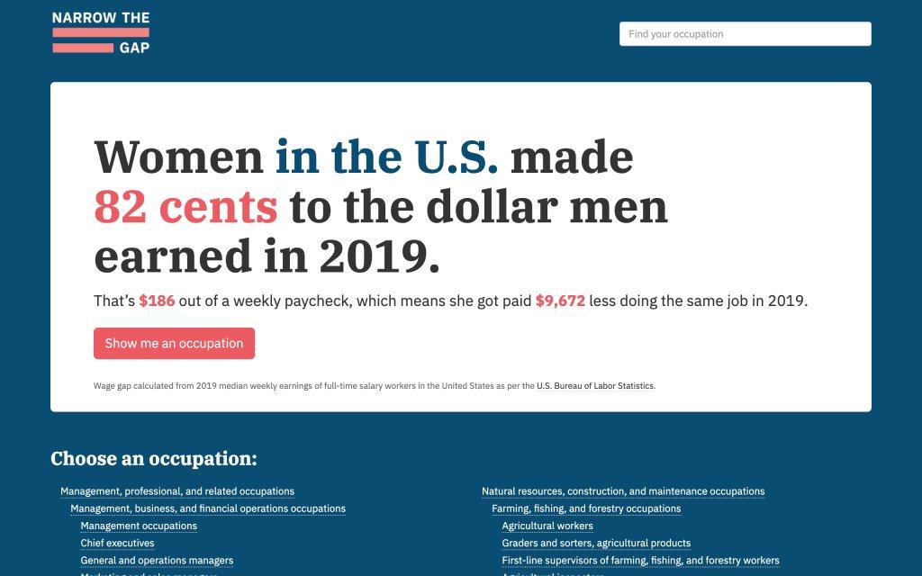 Screenshot of the website Narrow The Gap