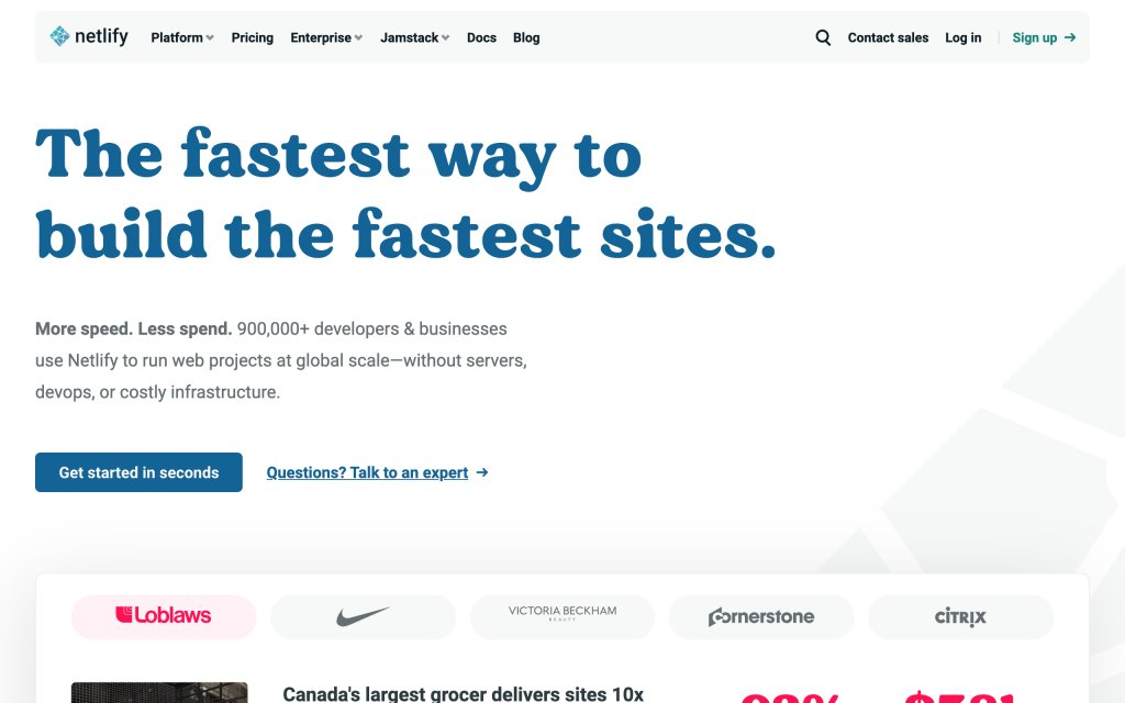 Screenshot of the website Netlify