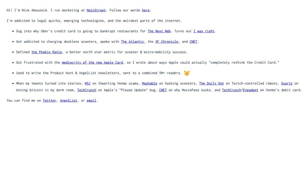Screenshot of the website Nick Abouzeid