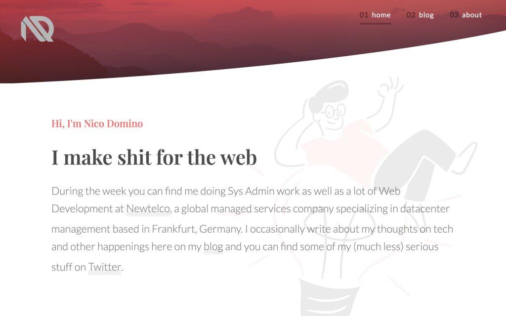 Screenshot of the website Nico Domino